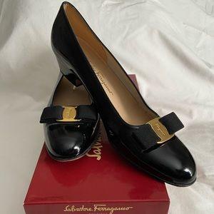 Black Patent Salvatore Ferragamo Lilliaz Heels